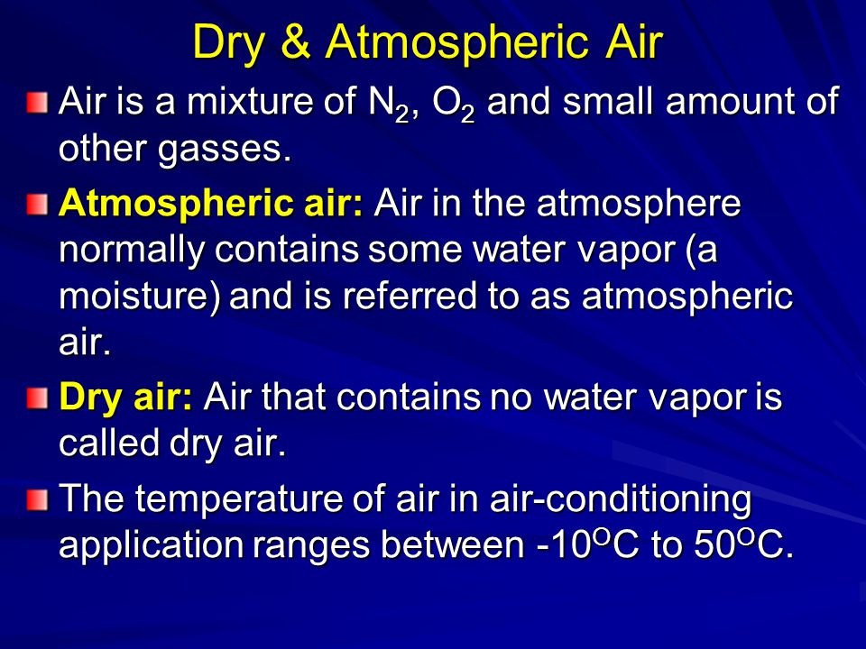 Dry & Atmospheric Air Air is a mixture of N2, O2 and small amount of other gasses.