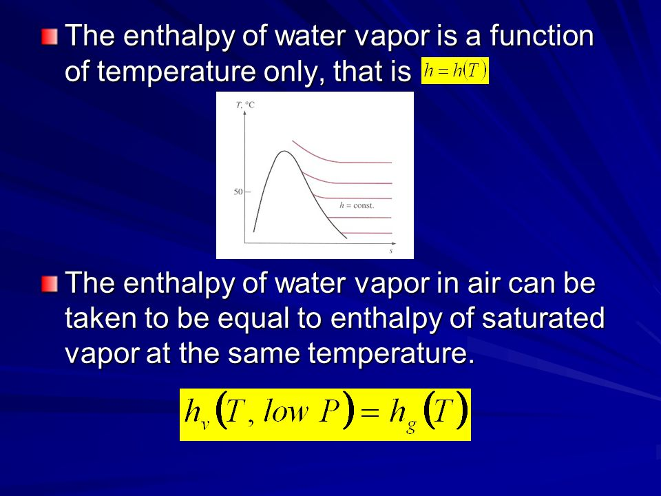 The enthalpy of water vapor is a function of temperature only, that is