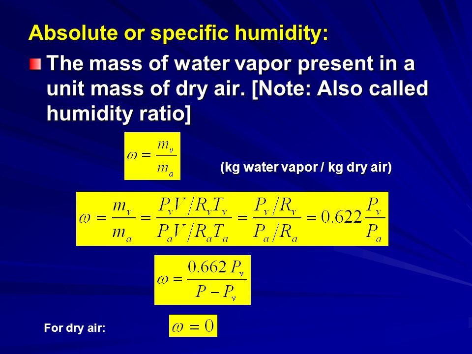 Absolute or specific humidity:
