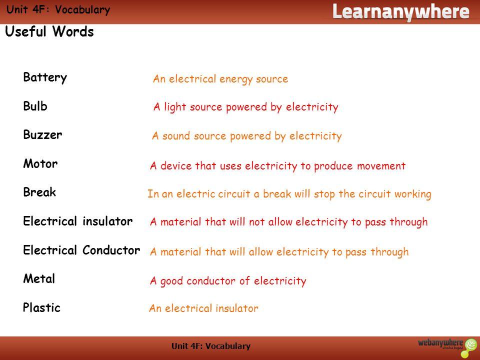 Useful Words Battery Bulb Buzzer Motor Break Electrical insulator