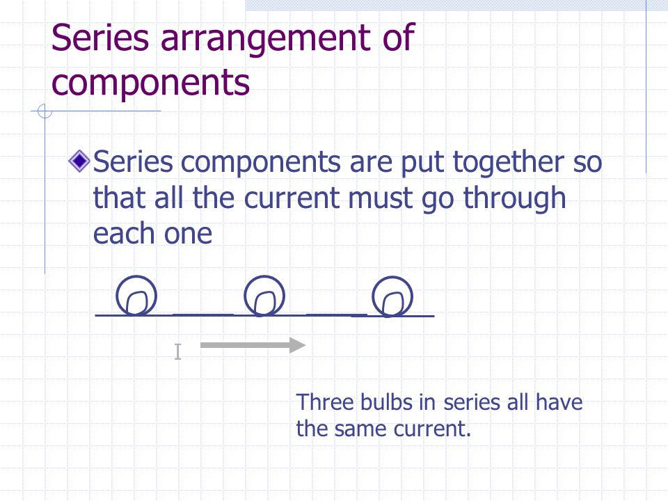 Series arrangement of components