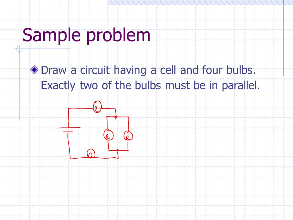 Sample problem Draw a circuit having a cell and four bulbs.