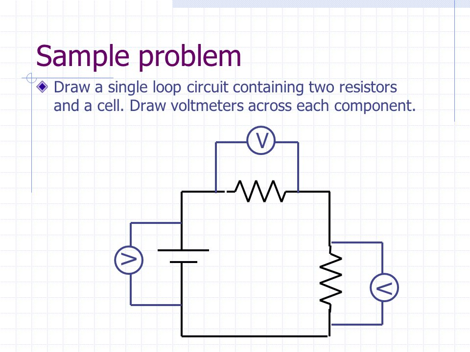 Sample problem Draw a single loop circuit containing two resistors and a cell. Draw voltmeters across each component.