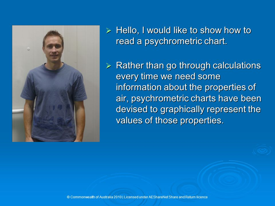 Hello, I would like to show how to read a psychrometric chart.