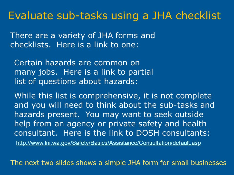Evaluate sub-tasks using a JHA checklist