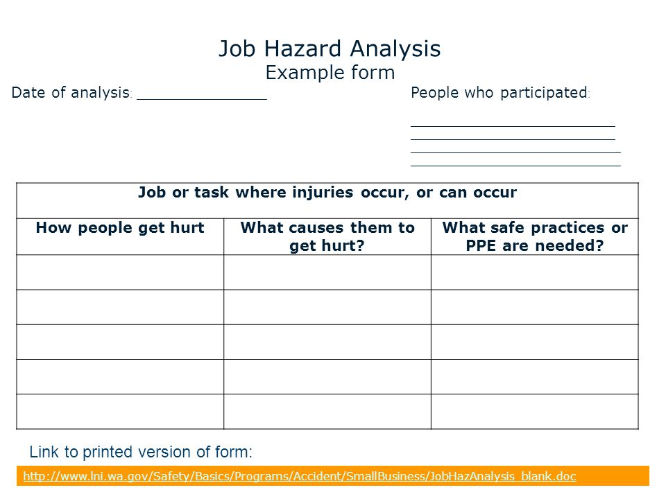 Job Hazard Analysis Example form Link to printed version of form: