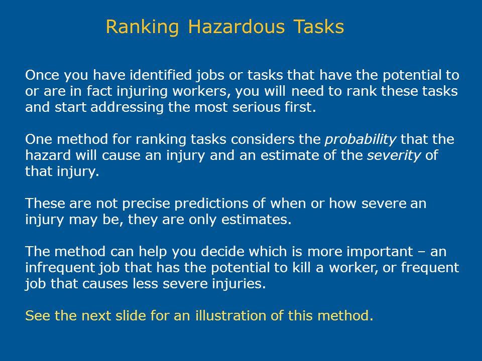Ranking Hazardous Tasks