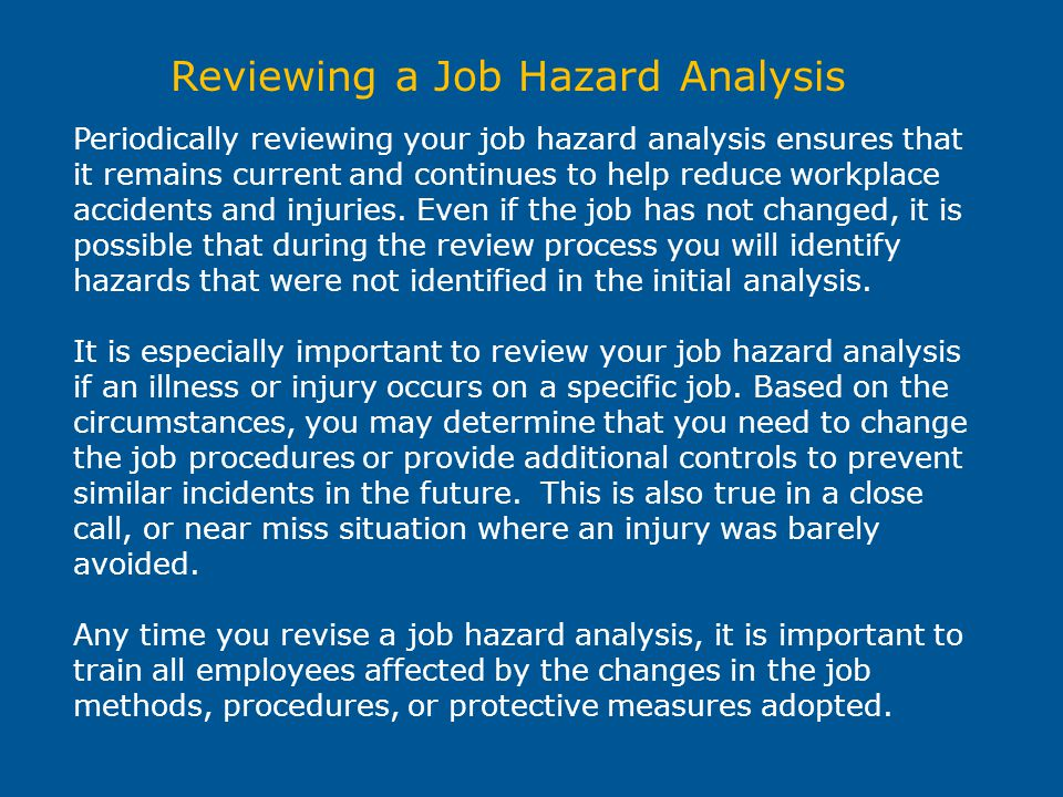 Reviewing a Job Hazard Analysis