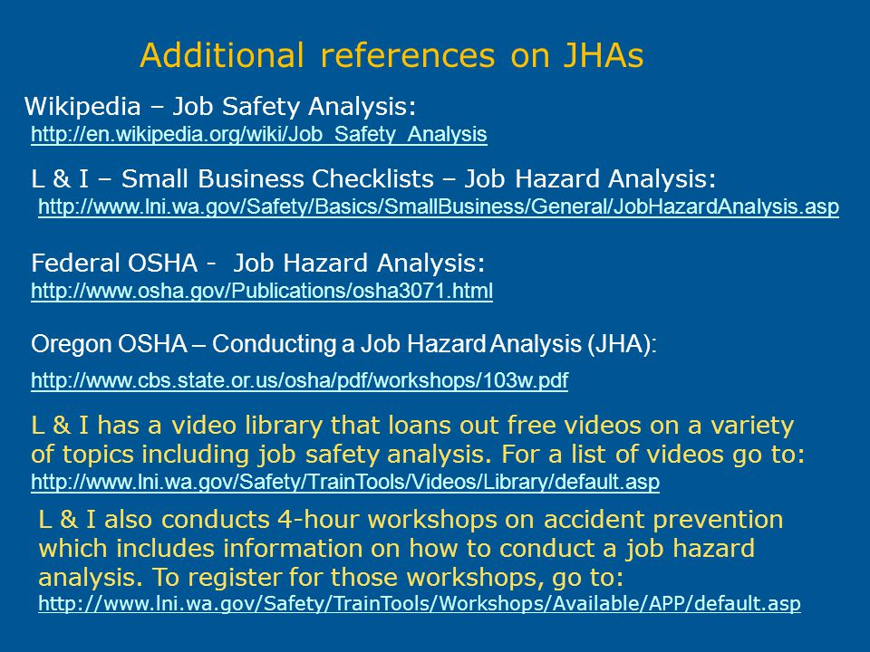 Additional references on JHAs