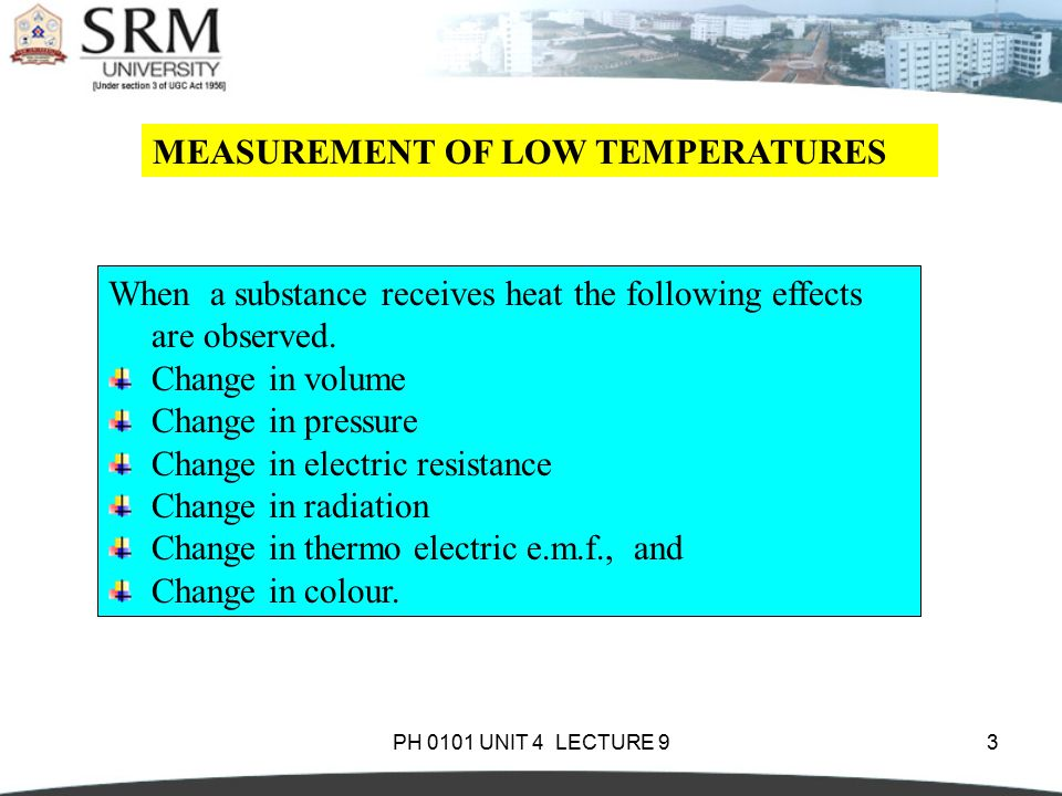 MEASUREMENT OF LOW TEMPERATURES