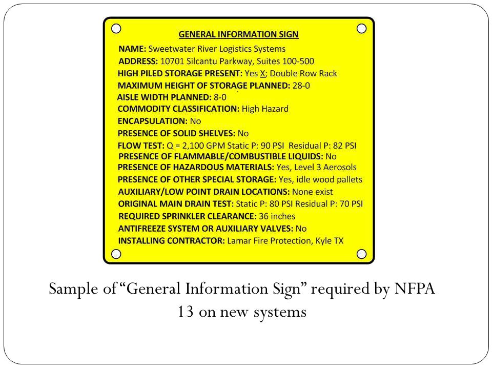Sample of General Information Sign required by NFPA 13 on new systems