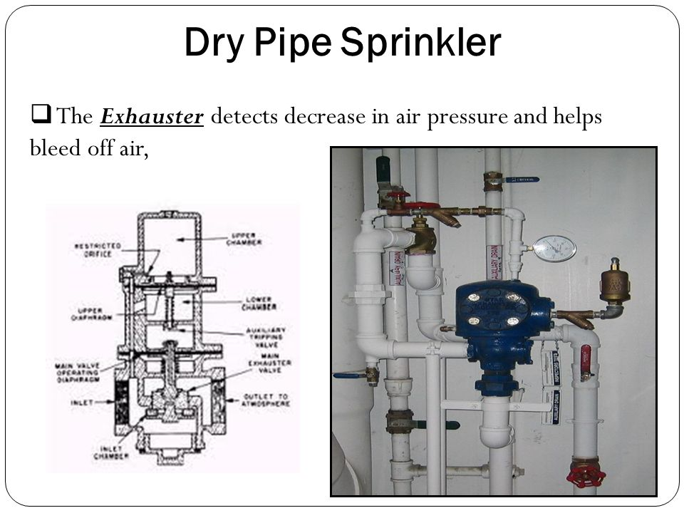 Dry Pipe Sprinkler The Exhauster detects decrease in air pressure and helps bleed off air,
