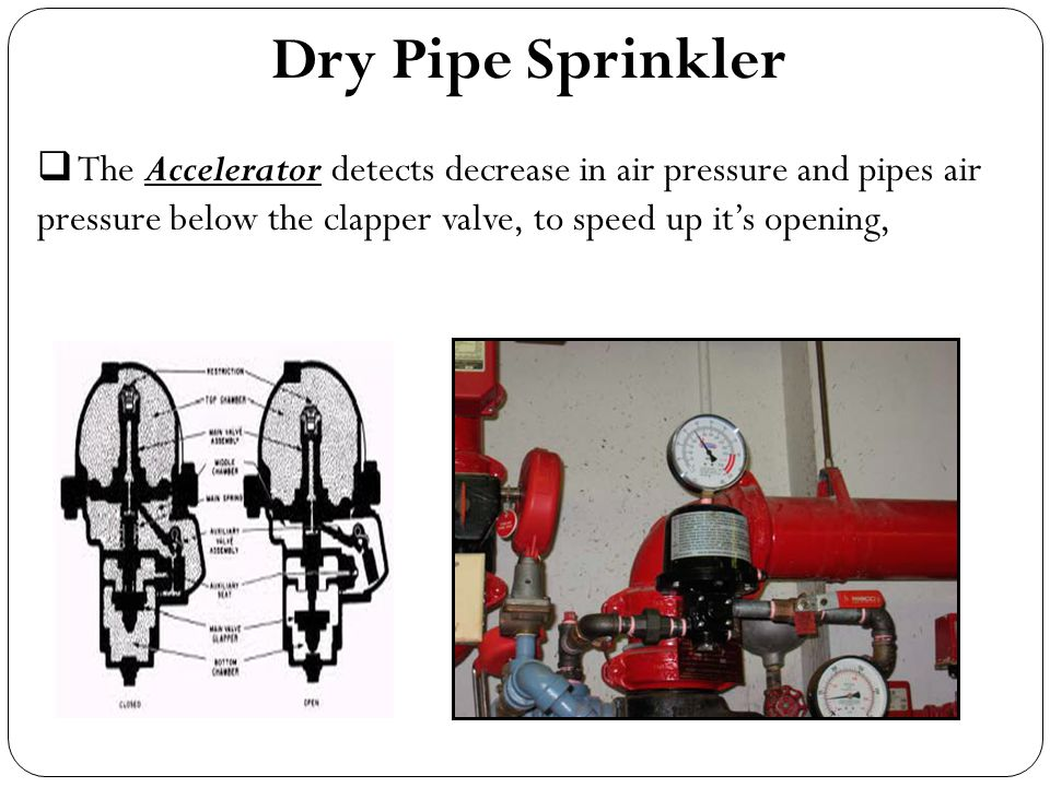 Dry Pipe Sprinkler The Accelerator detects decrease in air pressure and pipes air pressure below the clapper valve, to speed up it's opening,