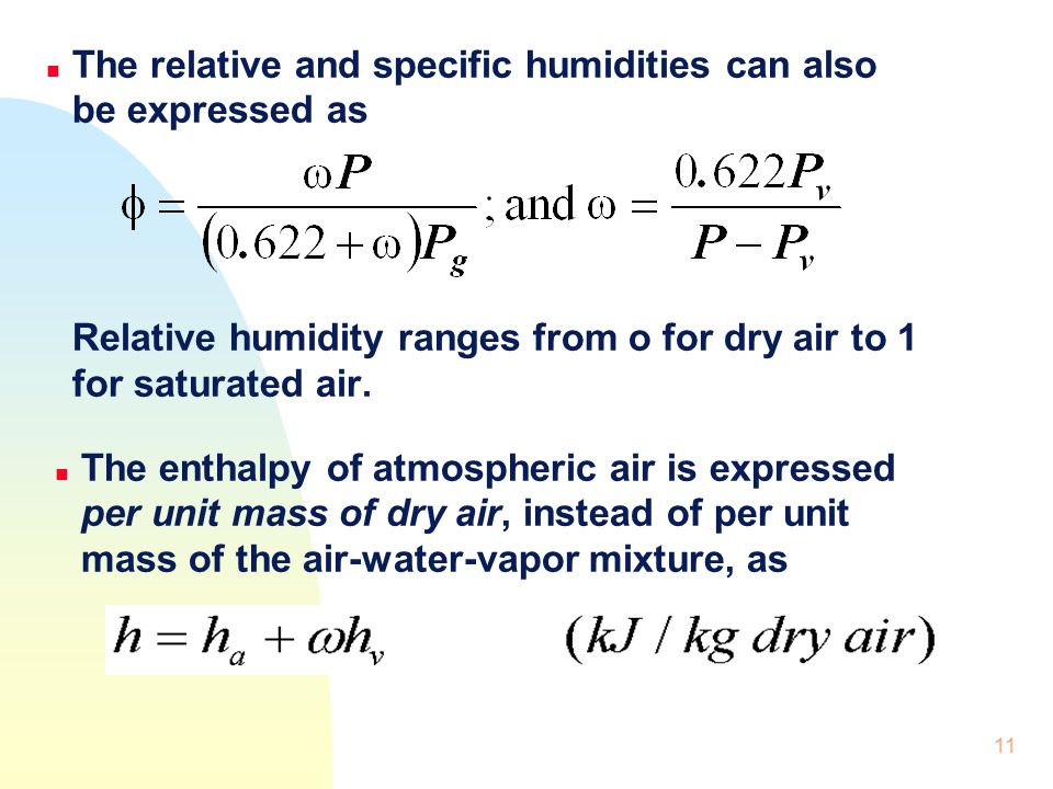 The relative and specific humidities can also be expressed as Relative humidity ranges from o for dry air to 1 for saturated air.