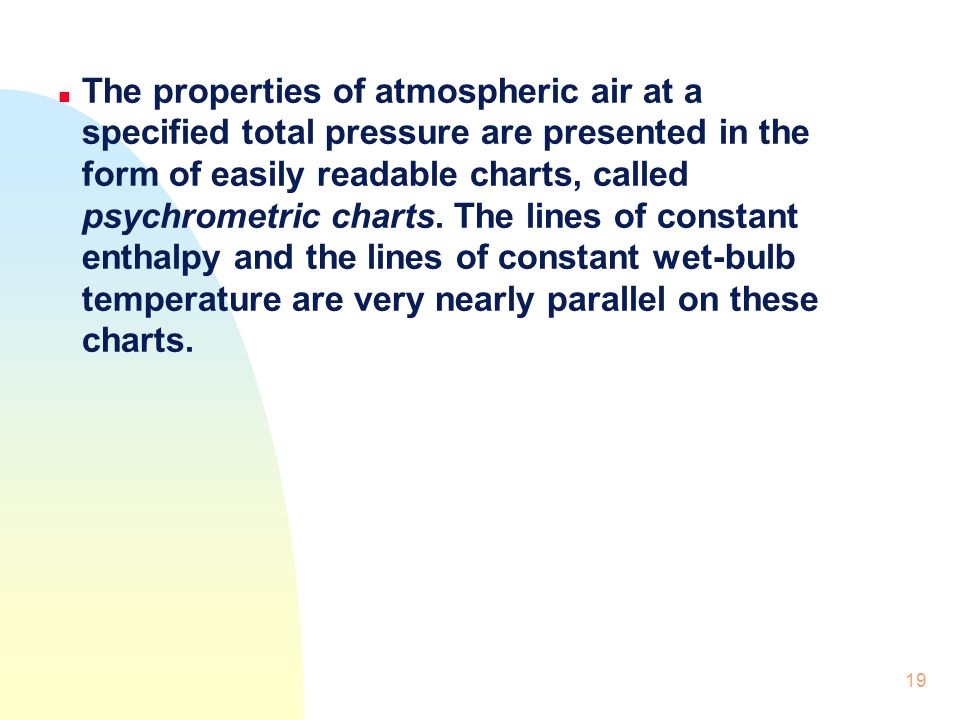 The properties of atmospheric air at a specified total pressure are presented in the form of easily readable charts, called psychrometric charts.
