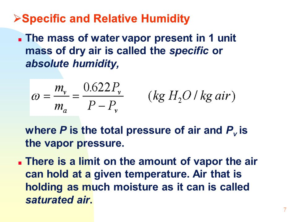 Specific and Relative Humidity
