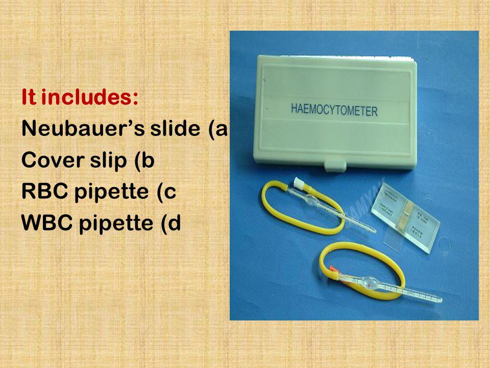 It includes: Neubauer's slide Cover slip RBC pipette WBC pipette