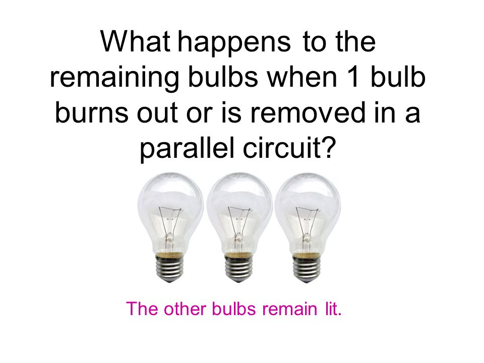 What happens to the remaining bulbs when 1 bulb burns out or is removed in a parallel circuit