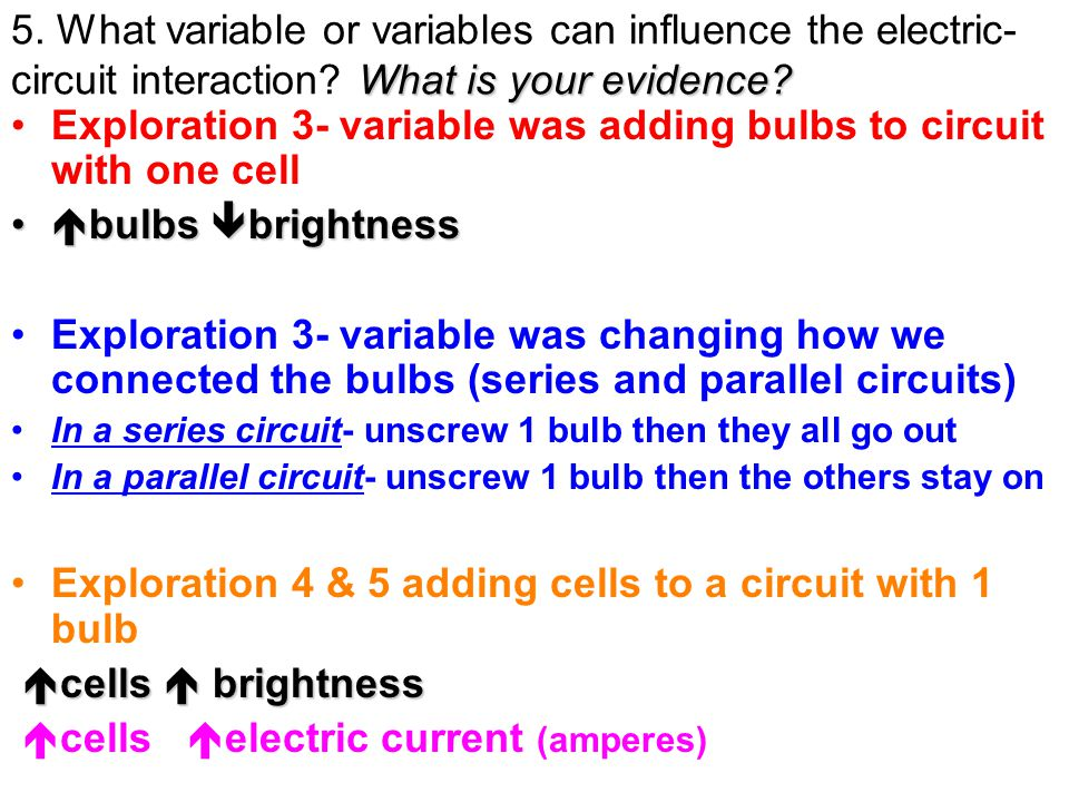 Exploration 3- variable was adding bulbs to circuit with one cell