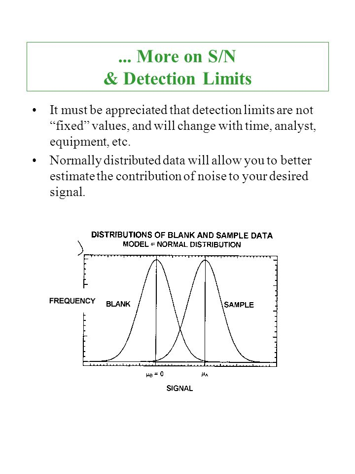 ... More on S/N & Detection Limits