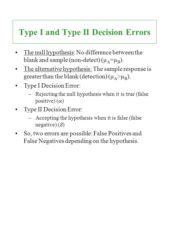 Type I and Type II Decision Errors
