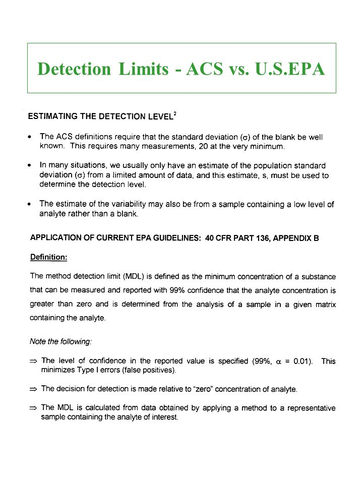 Detection Limits - ACS vs. U.S.EPA