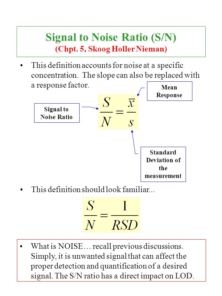 Signal to Noise Ratio (S/N) (Chpt. 5, Skoog Holler Nieman)