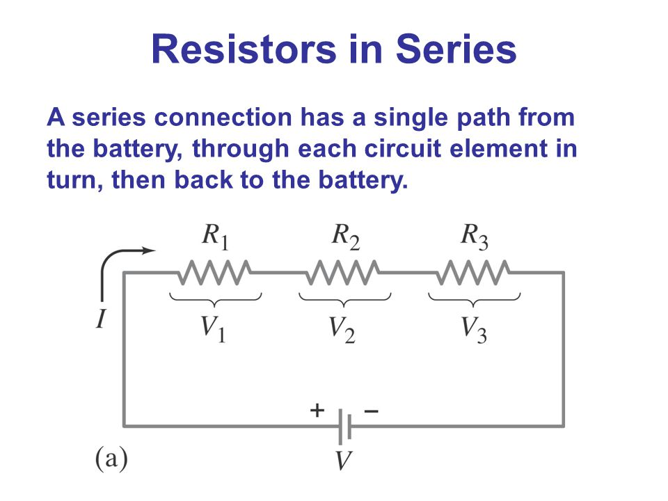 Resistors in Series A series connection has a single path from the battery, through each circuit element in turn, then back to the battery.