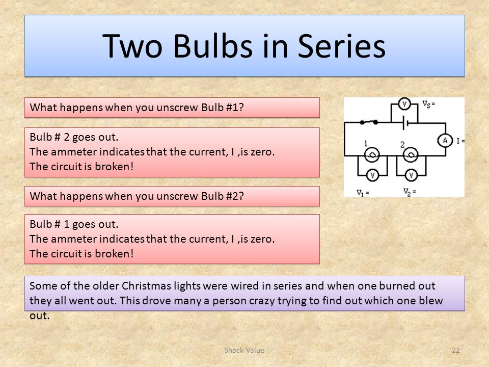 Two Bulbs in Series What happens when you unscrew Bulb #1