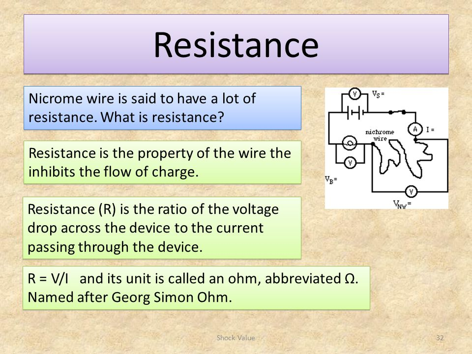 Resistance Nicrome wire is said to have a lot of resistance. What is resistance