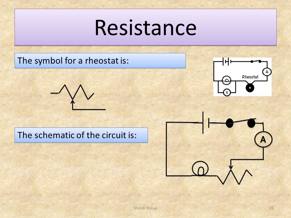 Resistance The symbol for a rheostat is: