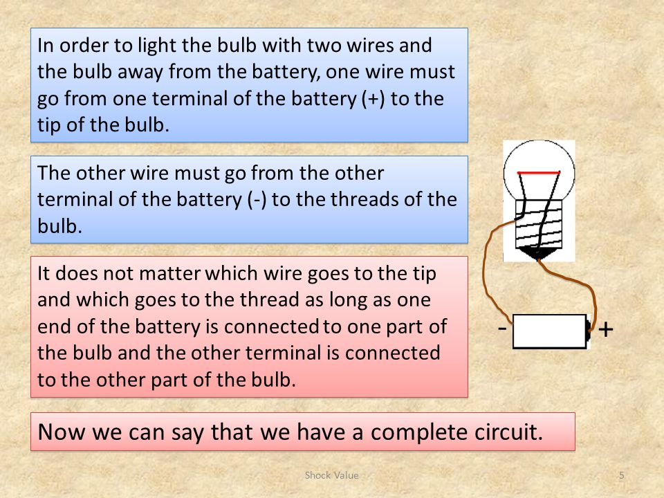 - + Now we can say that we have a complete circuit.