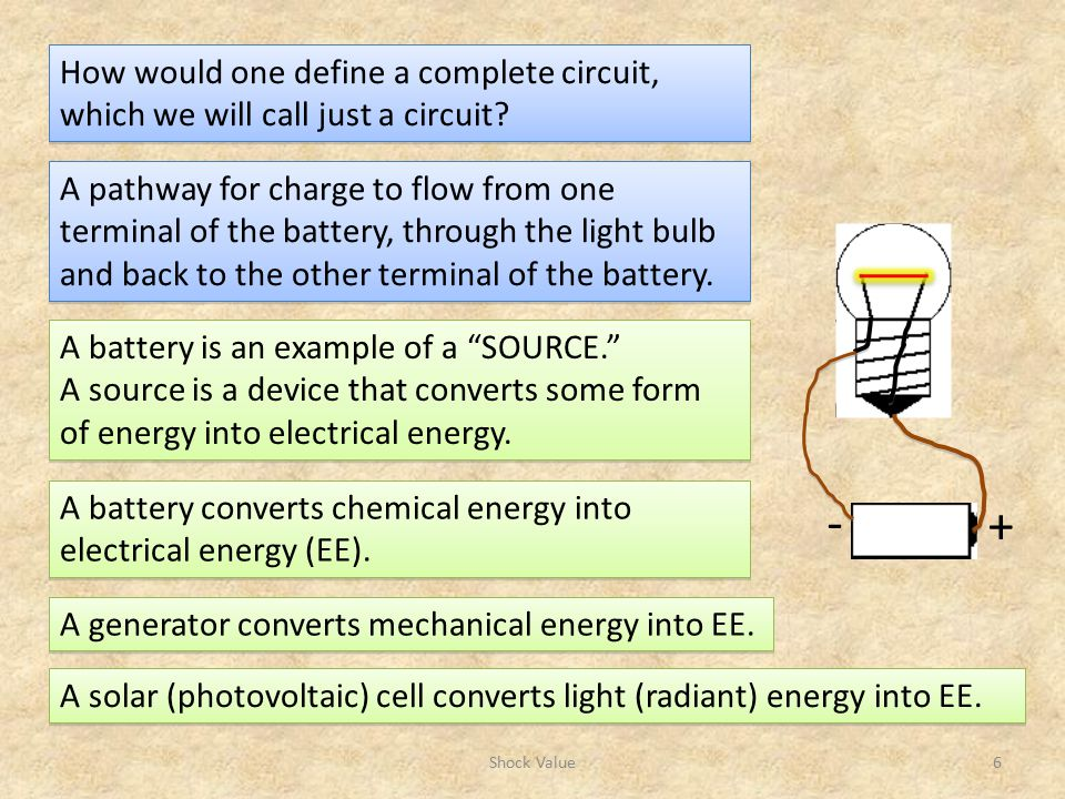 How would one define a complete circuit, which we will call just a circuit