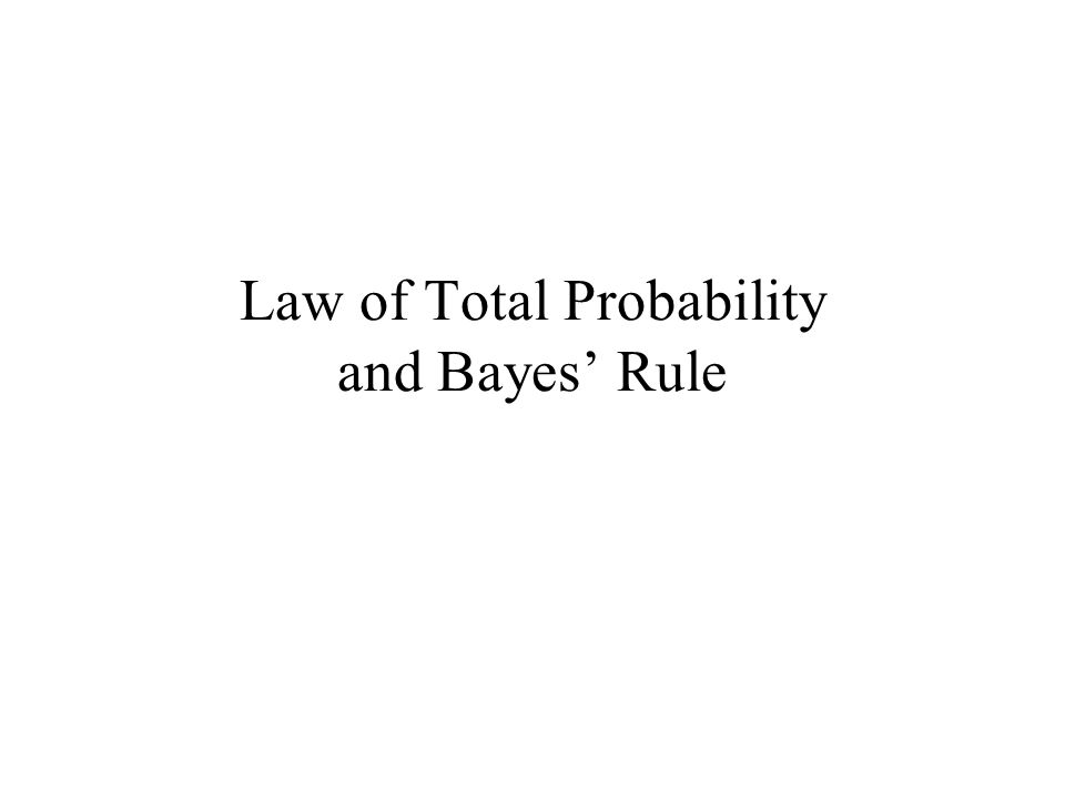 Law of Total Probability and Bayes' Rule