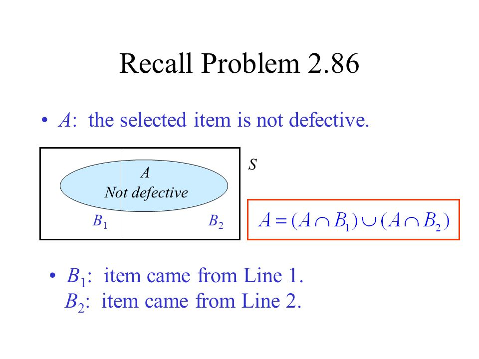 Recall Problem 2.86 A: the selected item is not defective.