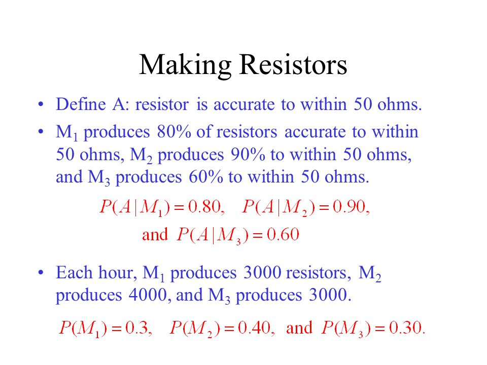 Making Resistors Define A: resistor is accurate to within 50 ohms.