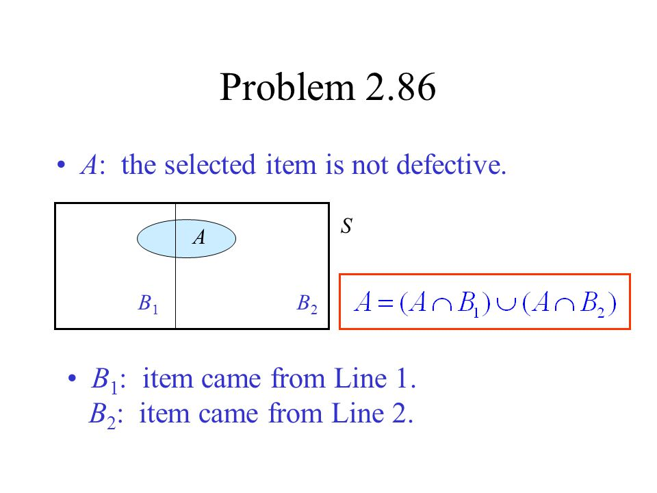 Problem 2.86 A: the selected item is not defective.