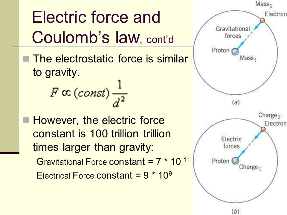 Electric force and Coulomb's law, cont'd