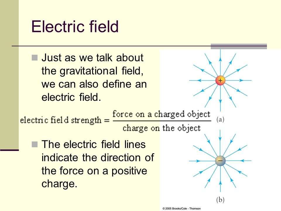 Electric field Just as we talk about the gravitational field, we can also define an electric field.