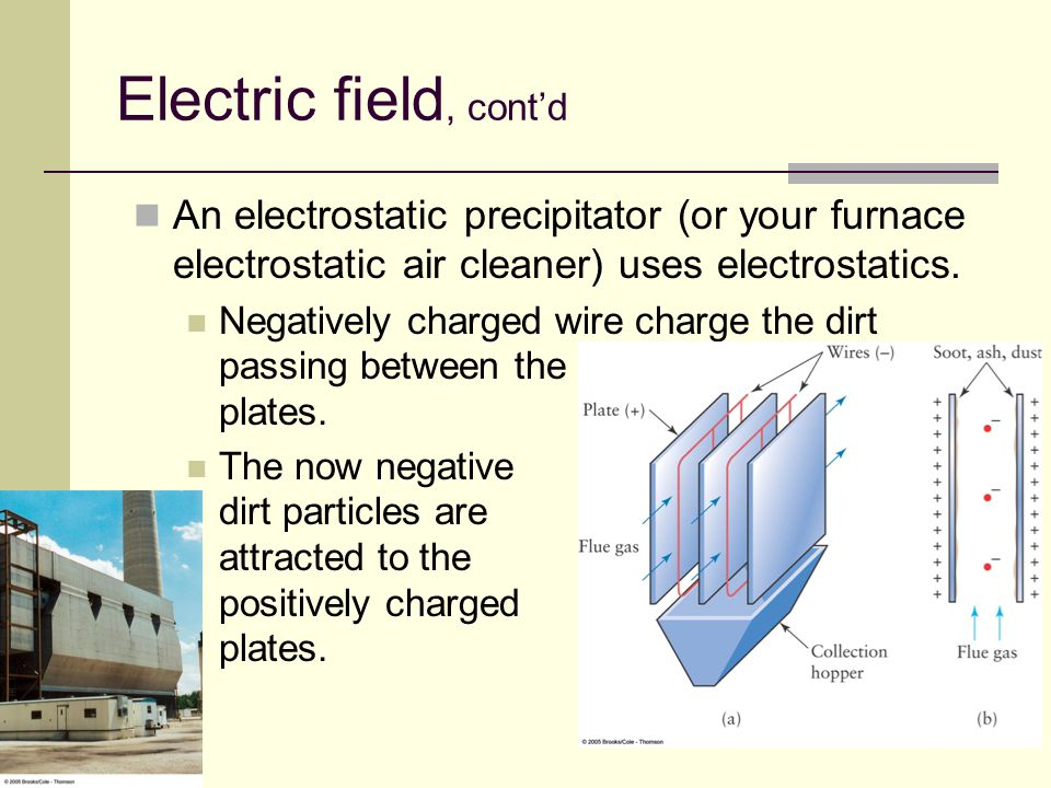 Electric field, cont'd An electrostatic precipitator (or your furnace electrostatic air cleaner) uses electrostatics.