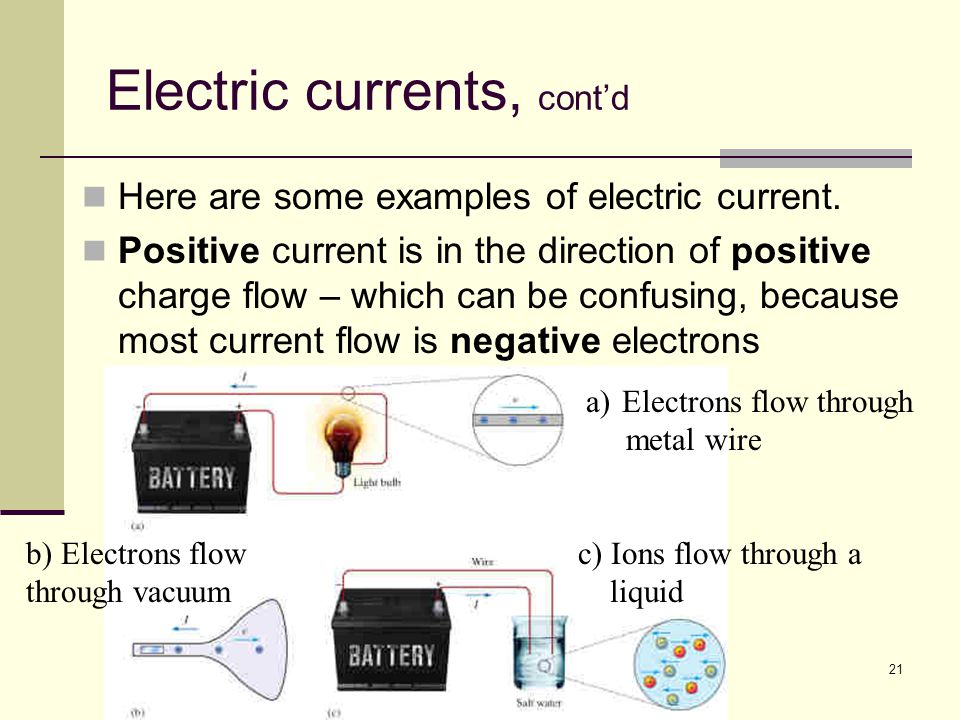 Electric currents, cont'd