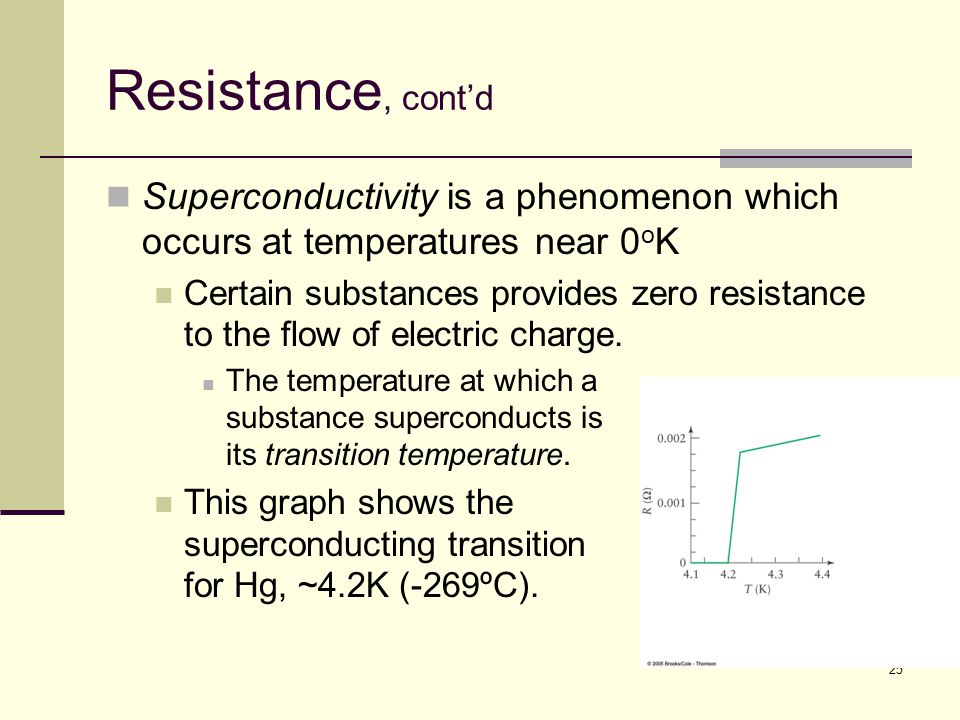Resistance, cont'd Superconductivity is a phenomenon which occurs at temperatures near 0oK.
