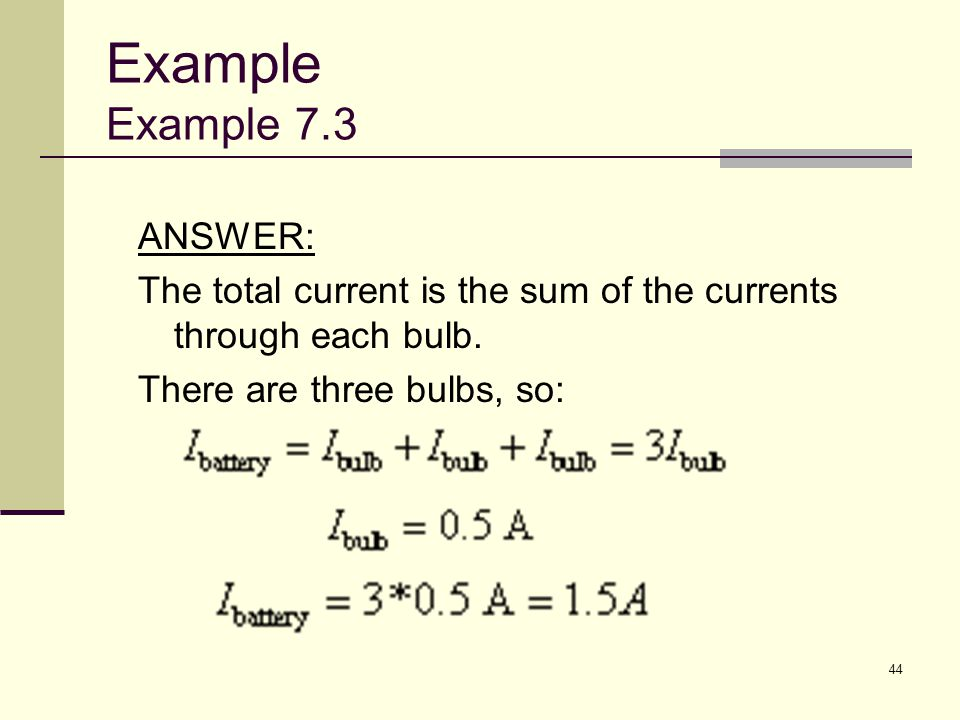 Example Example 7.3 ANSWER: