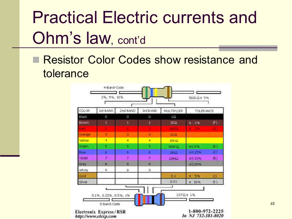 Practical Electric currents and Ohm's law, cont'd