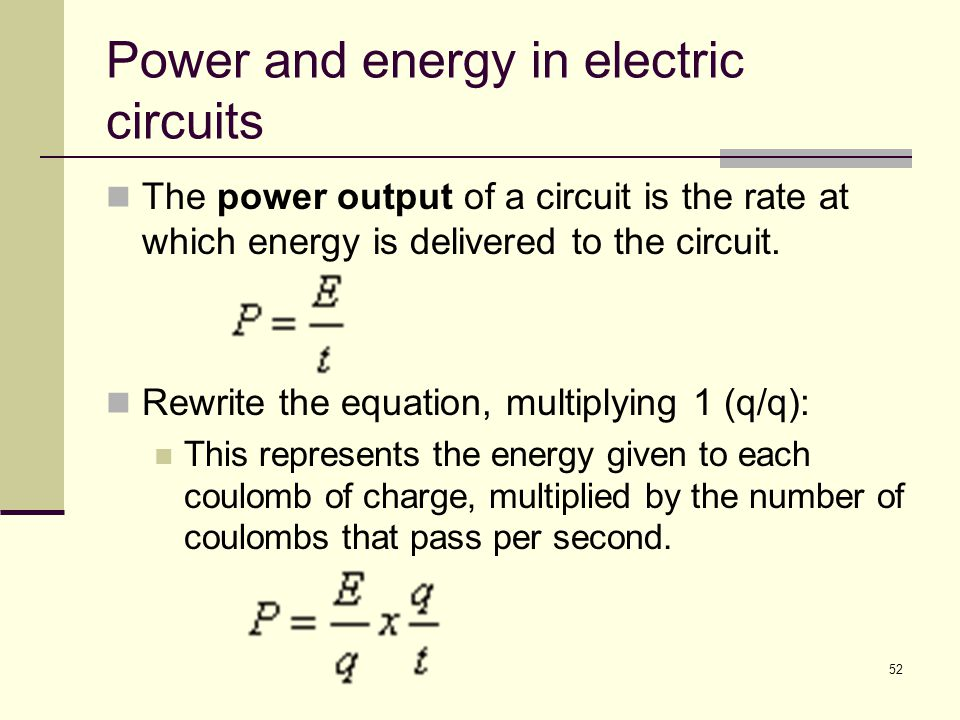 Power and energy in electric circuits