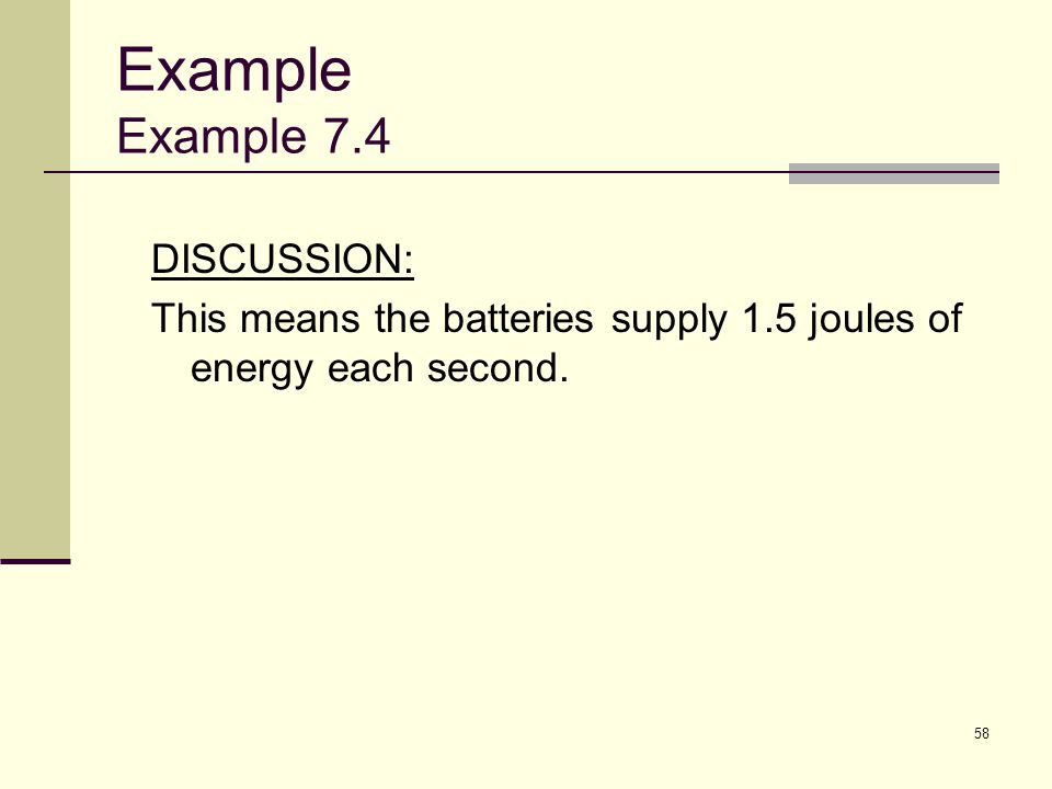 Example Example 7.4 DISCUSSION: