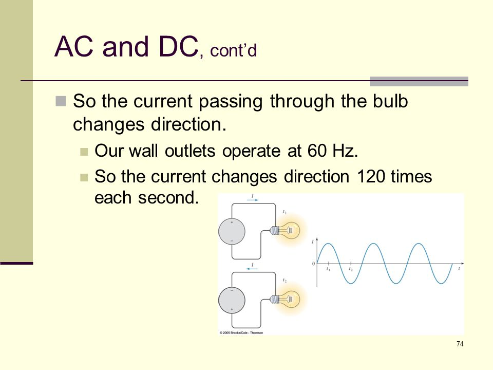 AC and DC, cont'd So the current passing through the bulb changes direction. Our wall outlets operate at 60 Hz.
