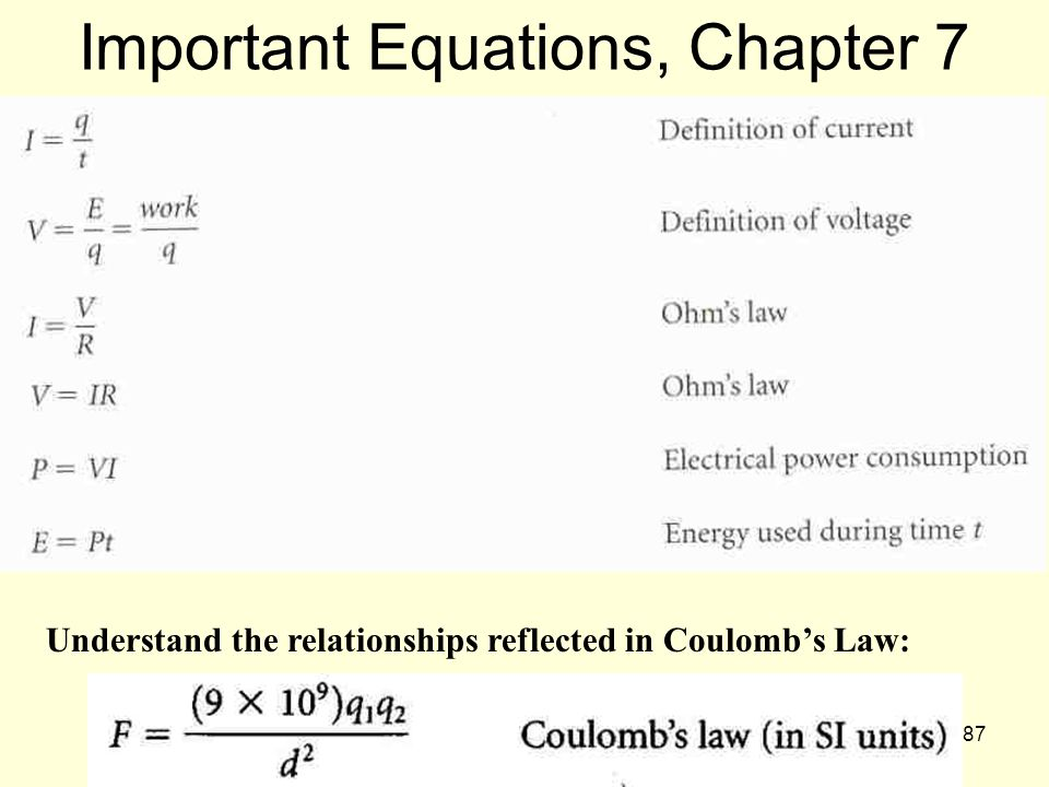Important Equations, Chapter 7