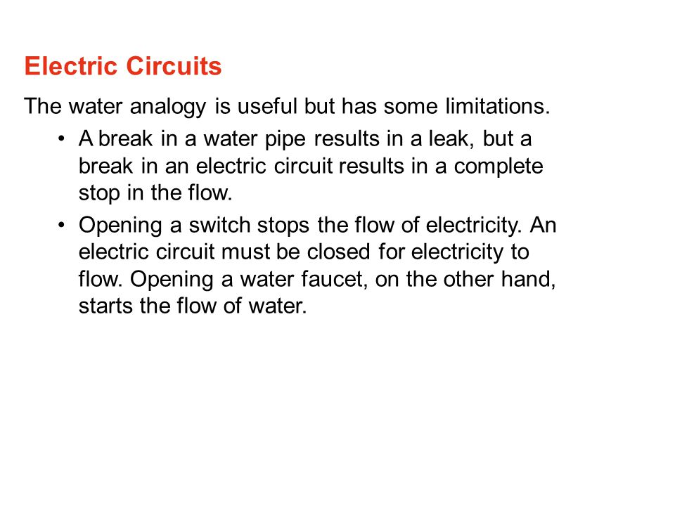 Electric Circuits The water analogy is useful but has some limitations.