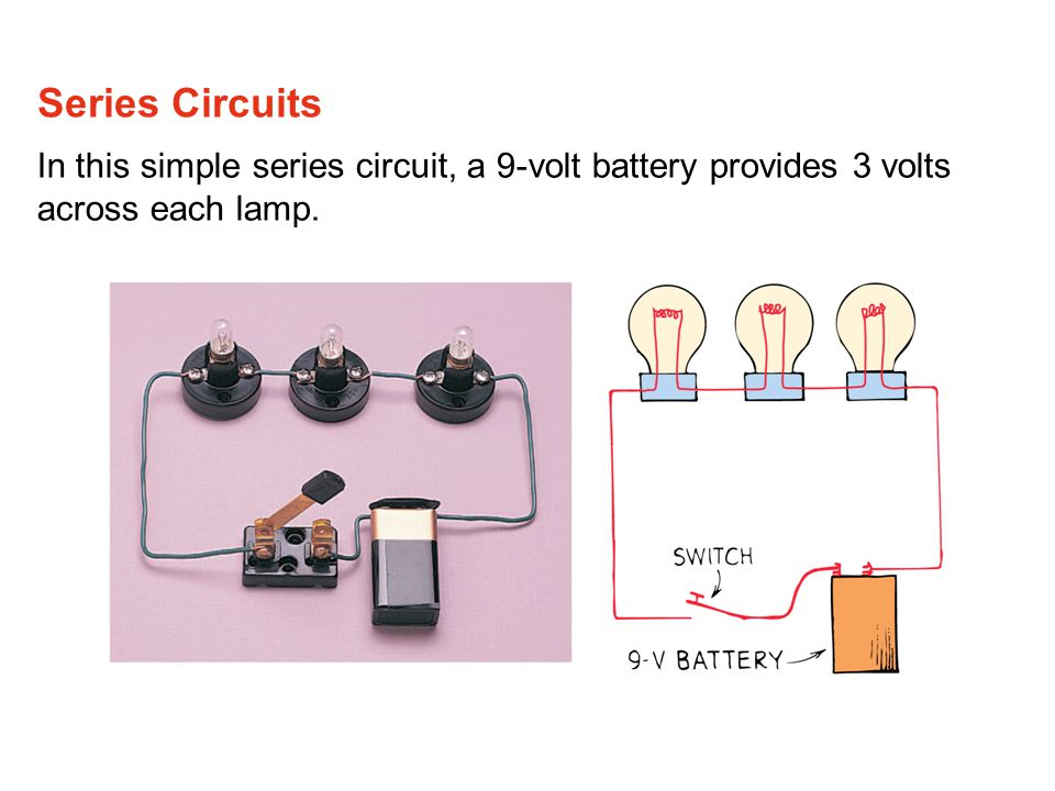 Series Circuits In this simple series circuit, a 9-volt battery provides 3 volts across each lamp.